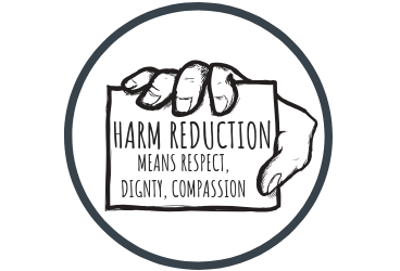 Sign held by hand that says harm reduction means respect, dignity, and compassion